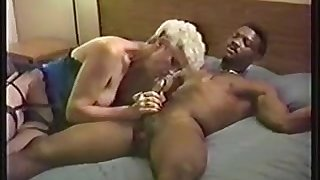 White Granny getting Black cock